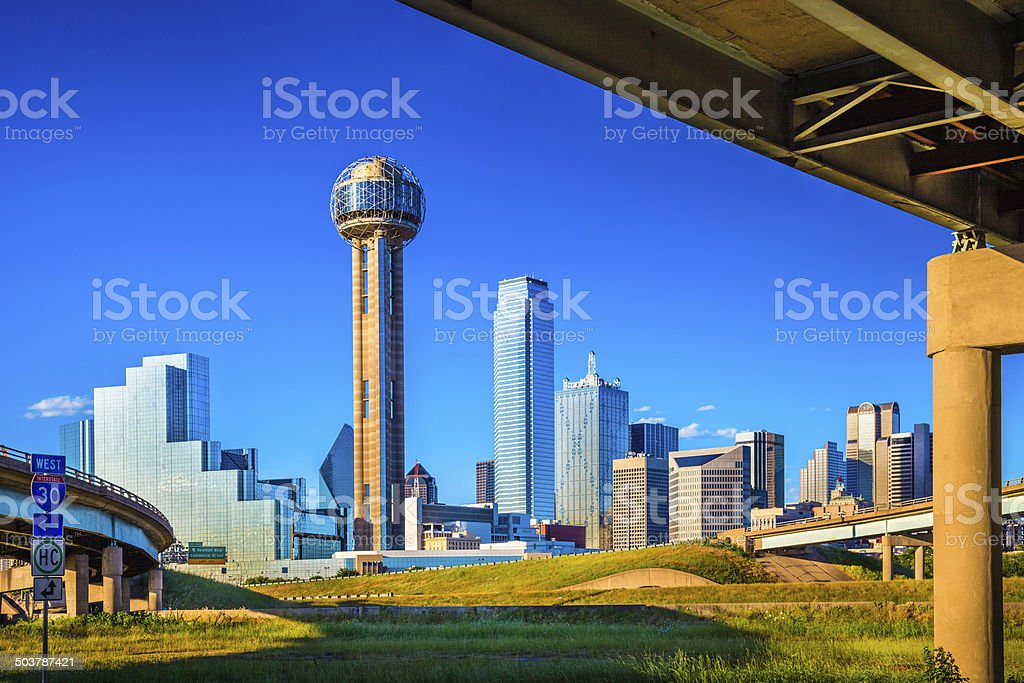 Dallas Skyline and interstate highway overpass, cityscape and skyscrapers royalty-free stock photo