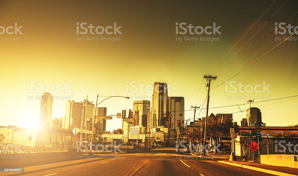 Dallas skyline at dusk stock photo