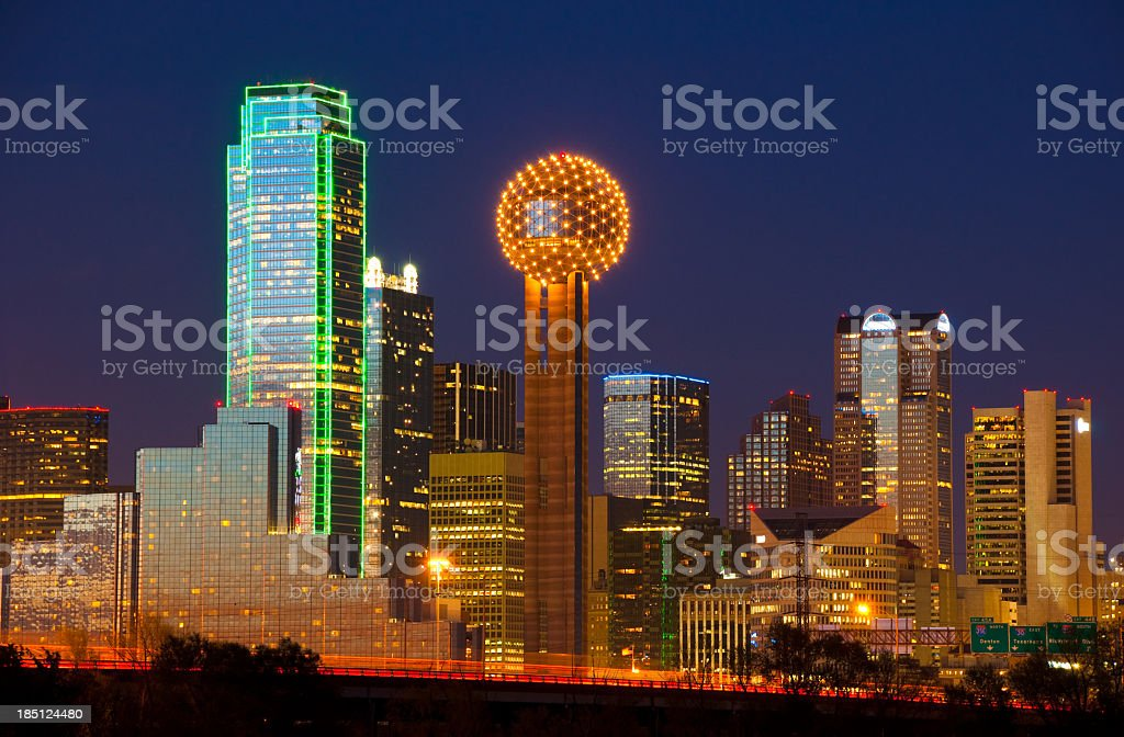Dallas skyline at dusk - the highrisers are all lit up stock photo