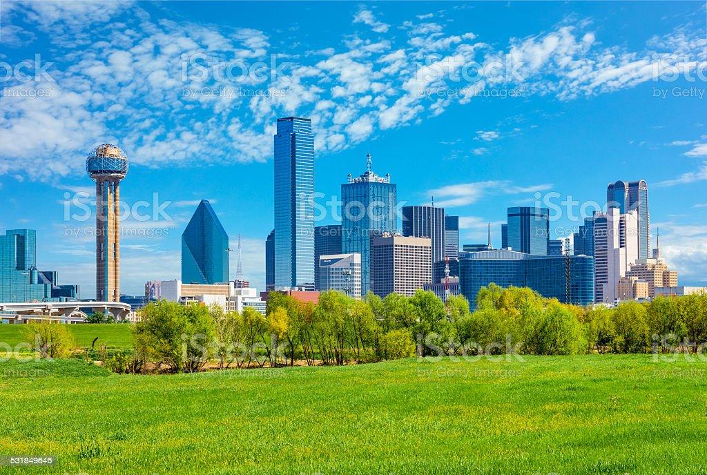 Dallas skyline cityscape with spring foliage,TX stock photo