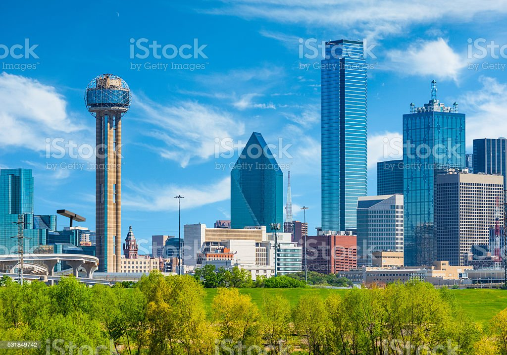 Dallas skyline cityscape with spring foliage,TX (P) stock photo