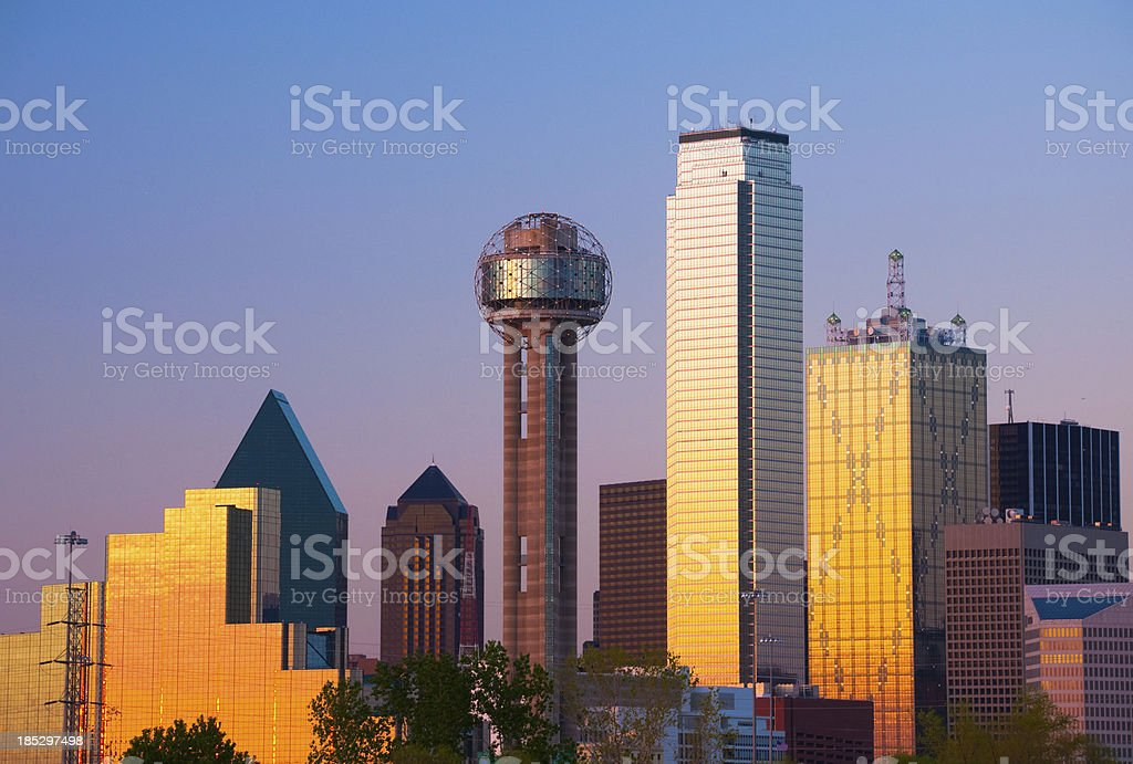 Dallas skyline closeup at sunset / dusk with many of Dallas\' skyline...