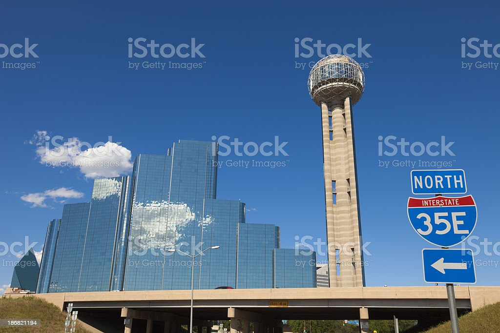 Dallas Skyline with Interstate 35 sign royalty-free stock photo