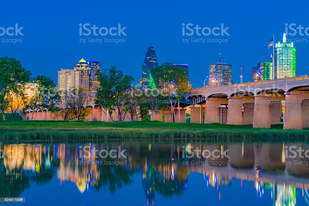 Dallas skyline with reflections at dusk, TX (P) stock photo