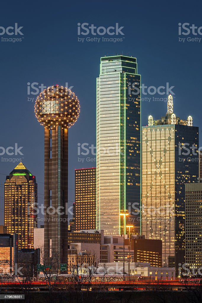Dallas skyscrapers at sunset stock photo