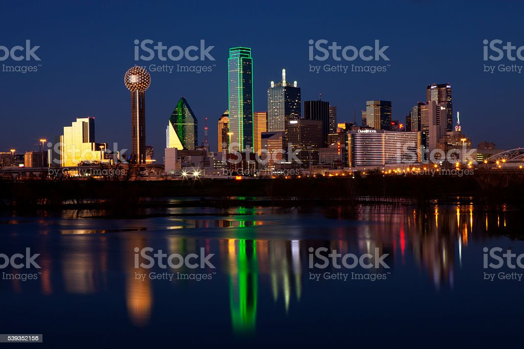 Dallas Texas at Night stock photo