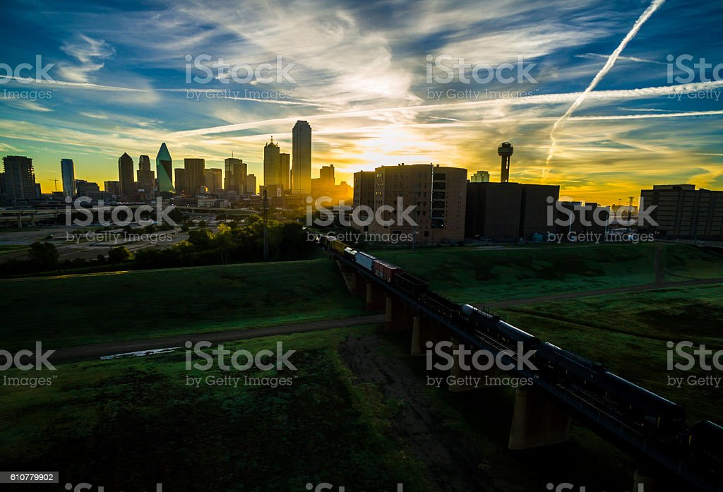 Dallas Texas at Sunrise Over Trinity Overlook Park stock photo