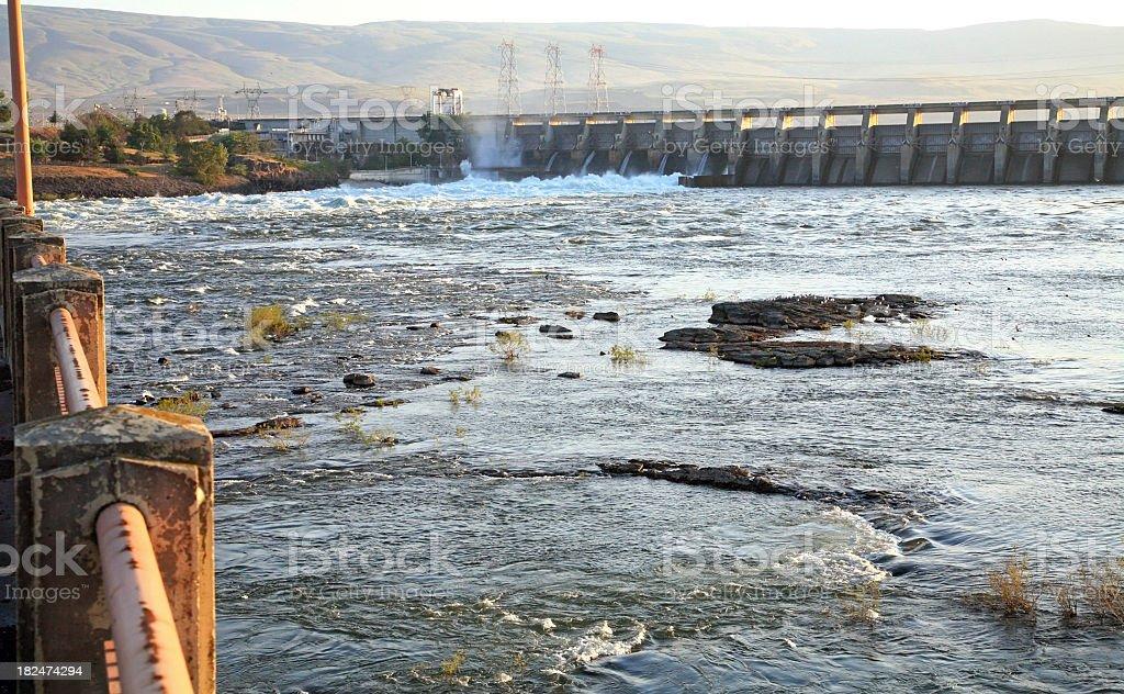 Dalles Dam Oregon Early Morning. Columbia River Gorge. stock photo