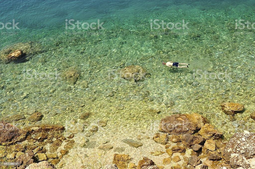 Dalmatian rocky plaży, pływając człowiek w Chorwacji zbiór zdjęć royalty-free