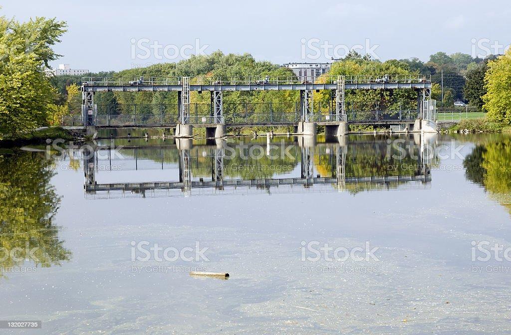 Dam across the Speed River stock photo