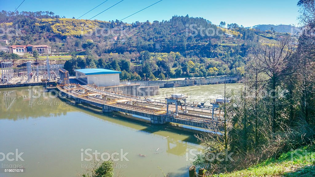 Dam and hydroelectric plant stock photo