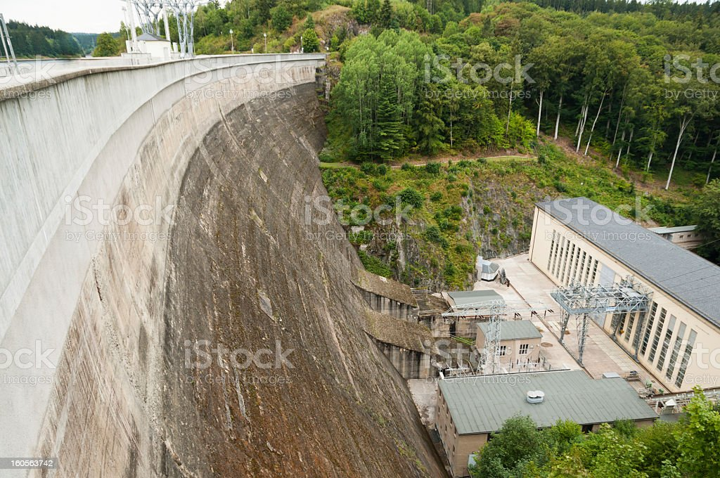 Dam and powerhouse of Bleiloch, Thuringian Slate Hills stock photo