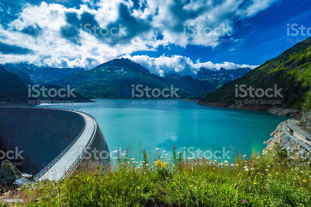 Dam at Lake Emosson near Chamonix (France) and Finhaut (Switzerland) stock photo