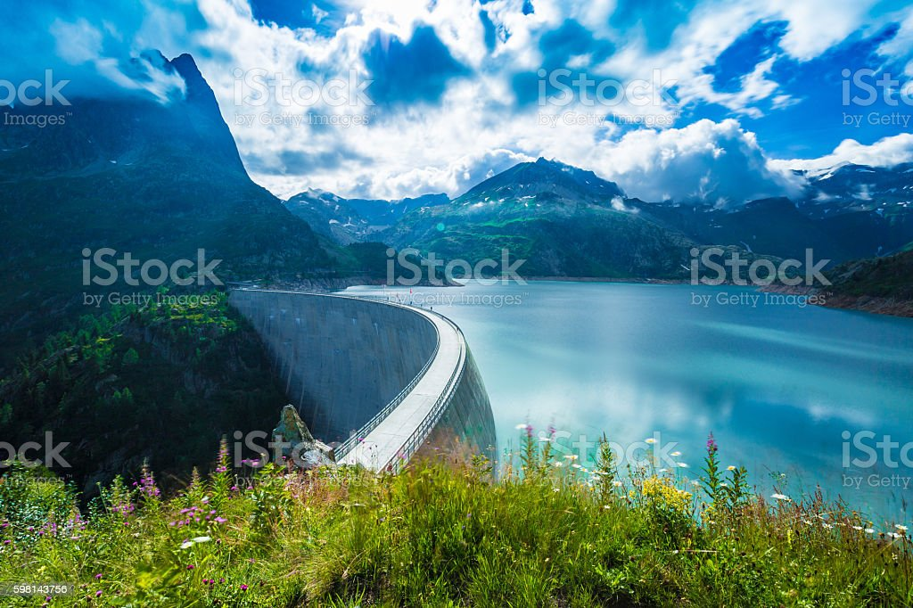 Dam at Lake Emosson near Chamonix (France) and Finhaut (Switzerland) stock photo