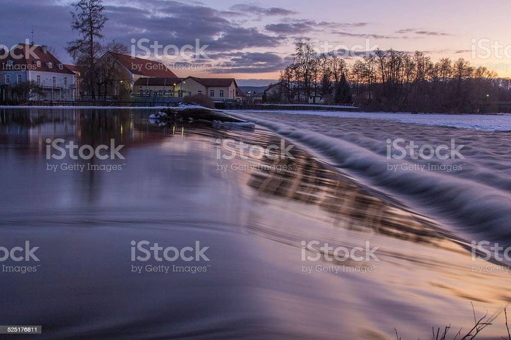 dam at sundown stock photo