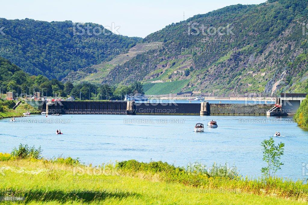 Dam close to Gondorf stock photo