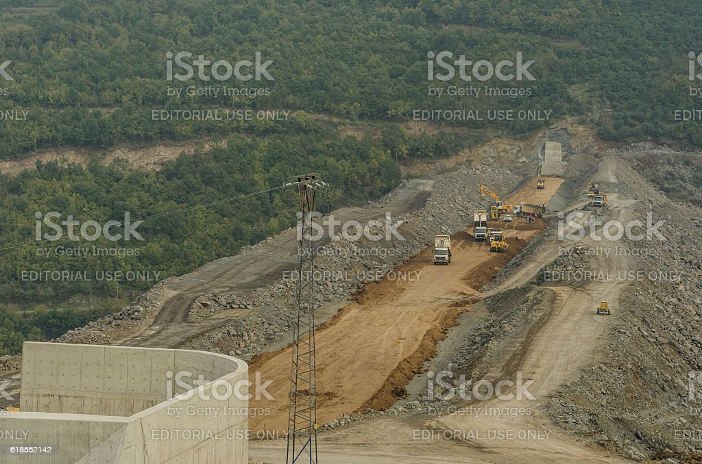 Dam construction operation near Samsun city, Turkey stock photo