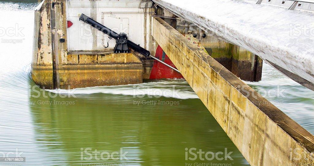 Dam hydralics close up stock photo