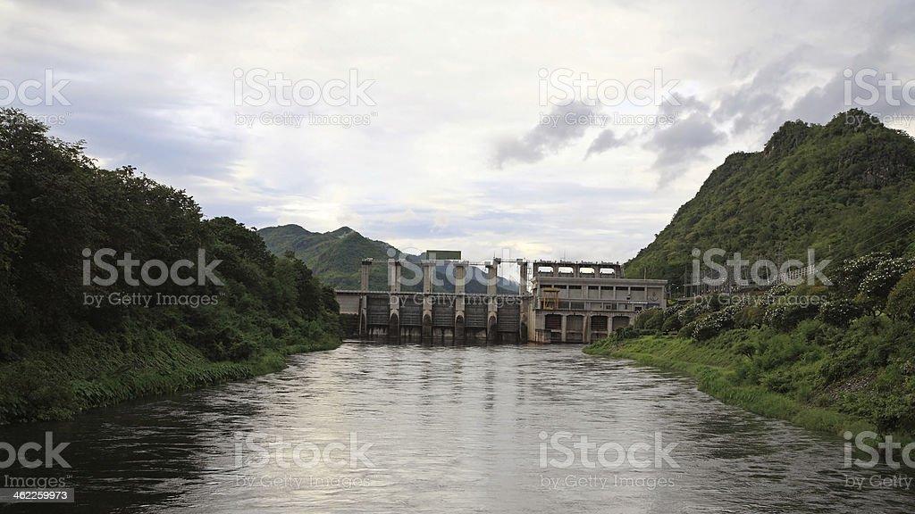 dam in Kanchanaburi, Thailand stock photo