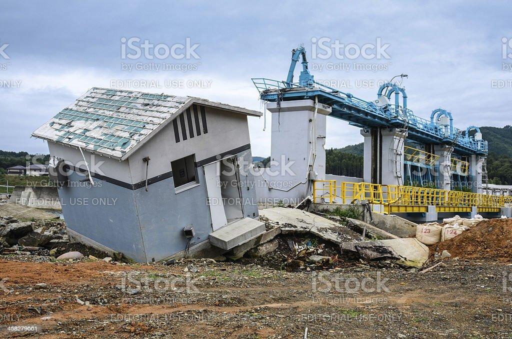Dam near Rikuzentogura Station 6 mont after Tsunami wave stock photo