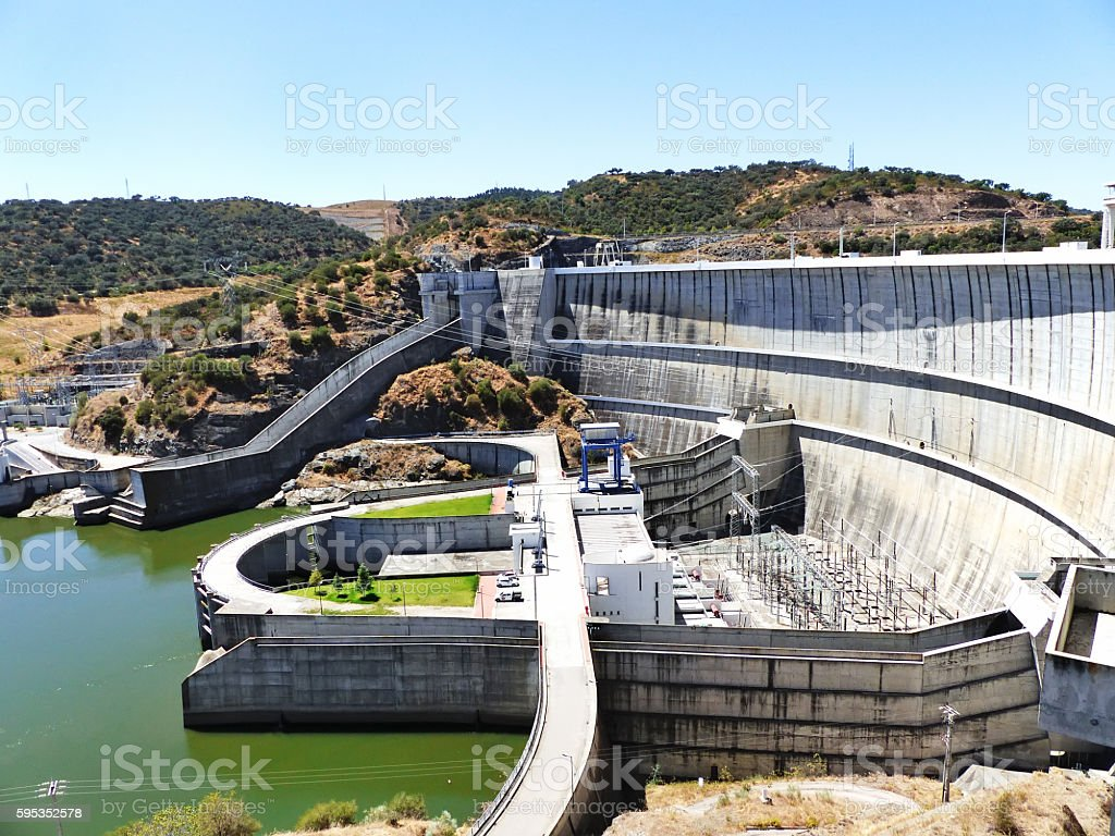 Dam of a hydroelectric power station barrage, Portugal stock photo