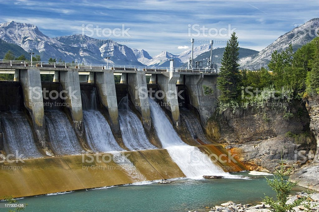 Dam of hydroelectric power plant stock photo
