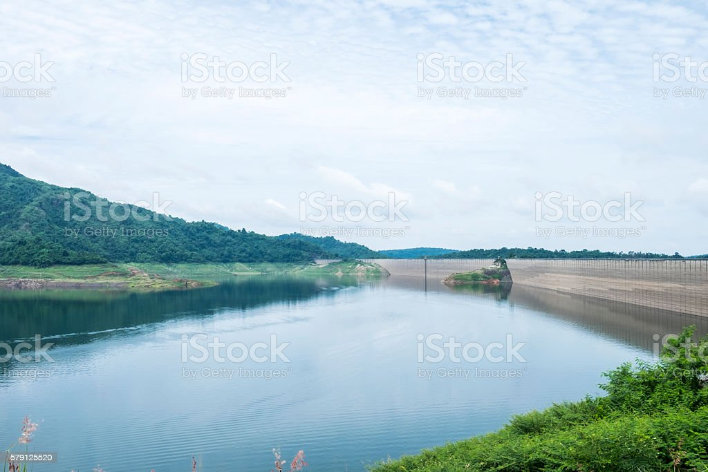 dam of the hydropower station in Thailand with sky stock photo