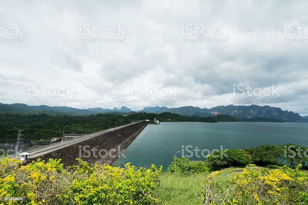 Dam on cloudy day stock photo