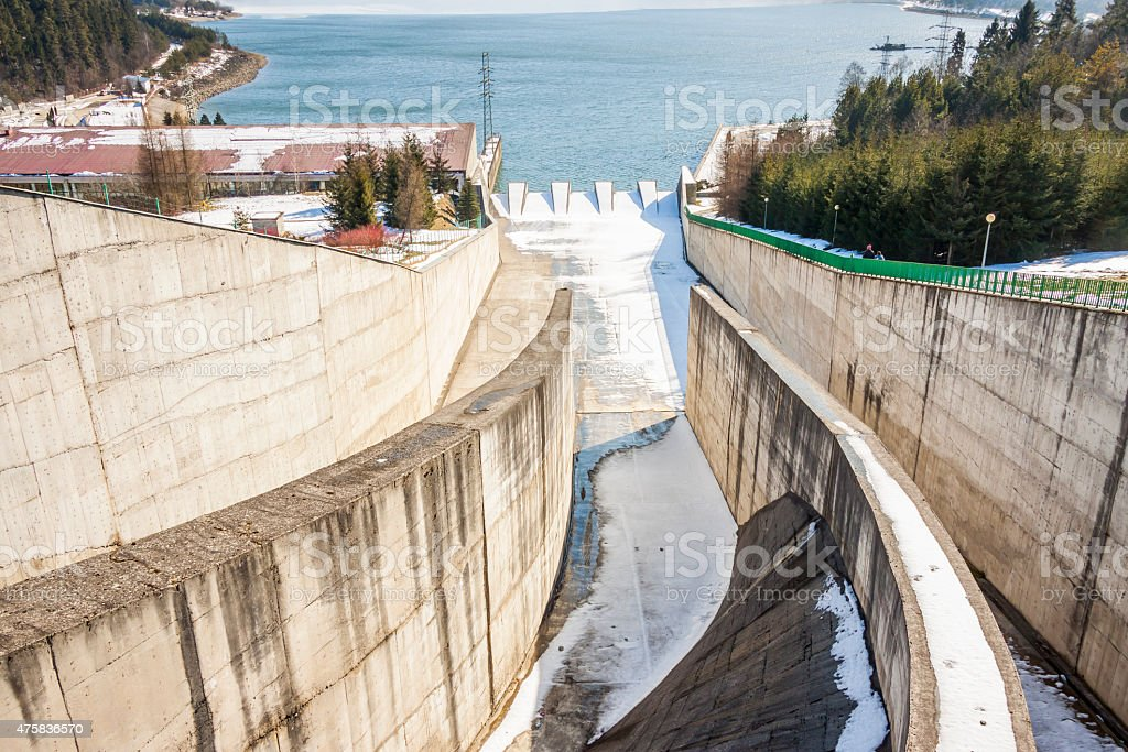Dam on Czorsztynski lake. Czorsztyn, Poland. stock photo