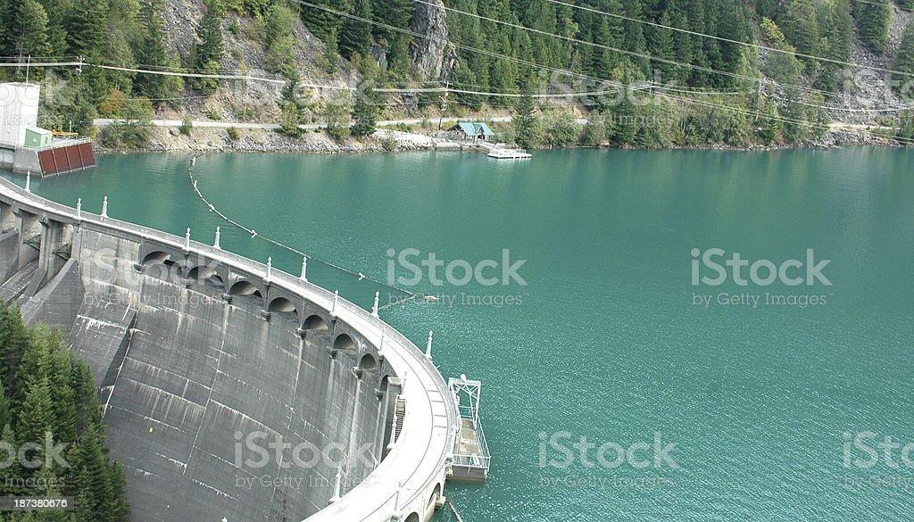 Dam on Diablo Lake in the Northern Cascades Washignton stock photo