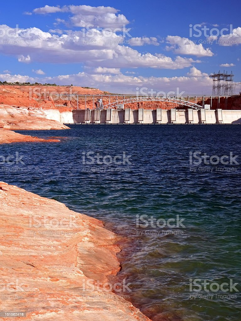 Dam on lake Powell vertical view stock photo