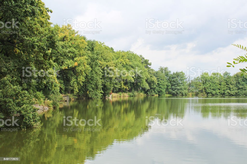 Dam on pond with trees and sky, Czech landscape. stock photo