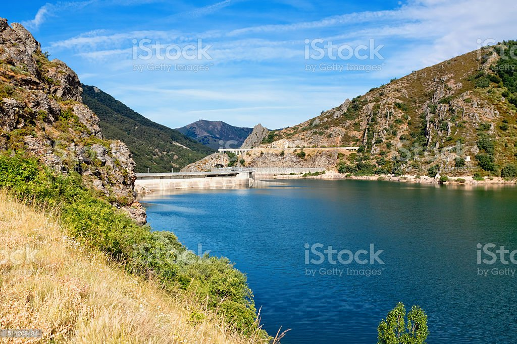 dam on river Esla. Las Salas. Castile and Leon. Spain. stock photo