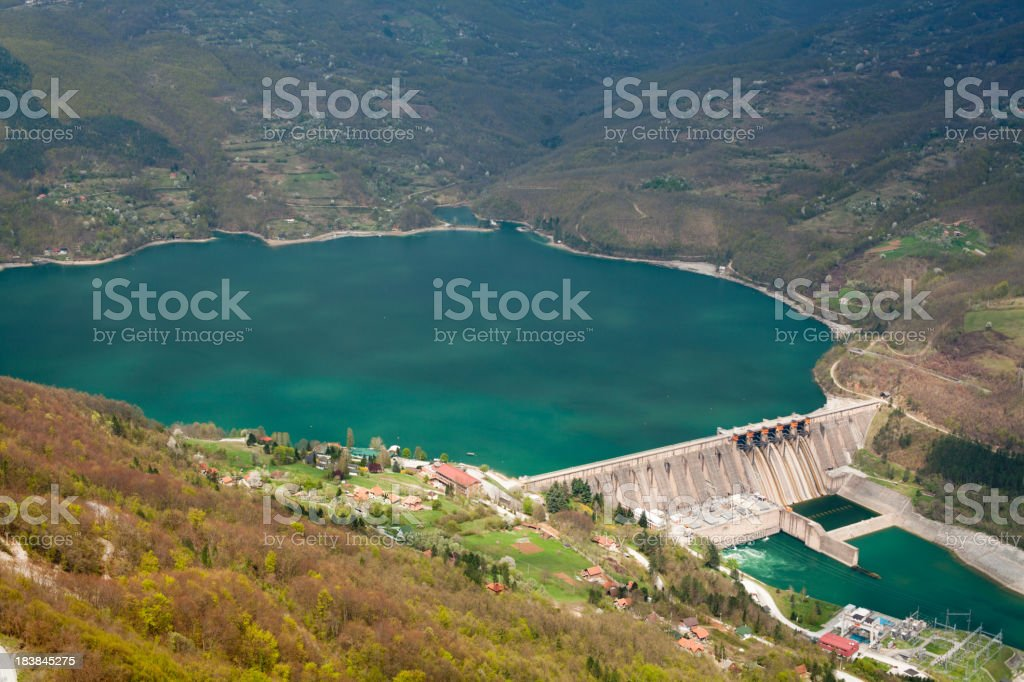Dam Perucac on a Drina river. Hydroelectric power plant stock photo