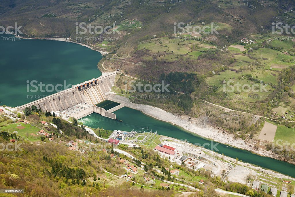 Dam Perucac on a Drina river. Hydroelectric power plant royalty-free stock photo