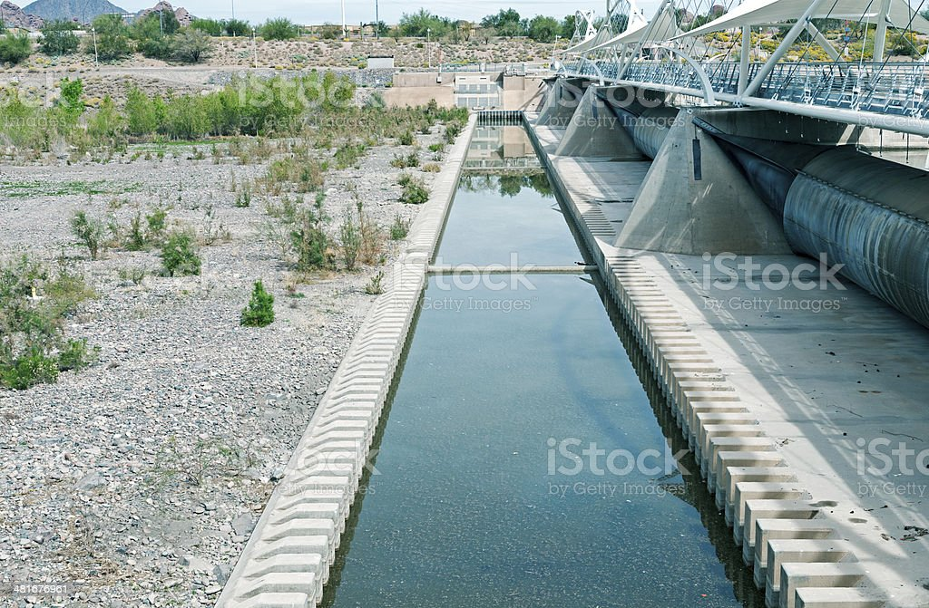 Dam with rubber spillways in Tempe AZ royalty-free stock photo