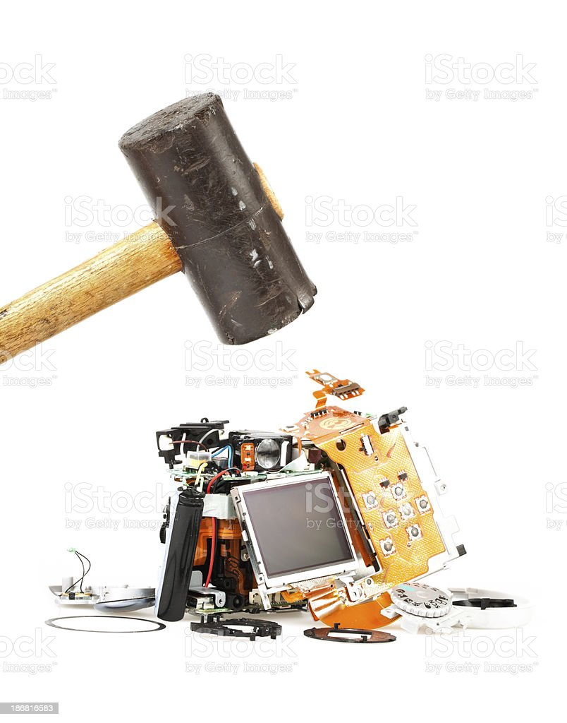 Damage an Destroyed Digital Camera stock photo