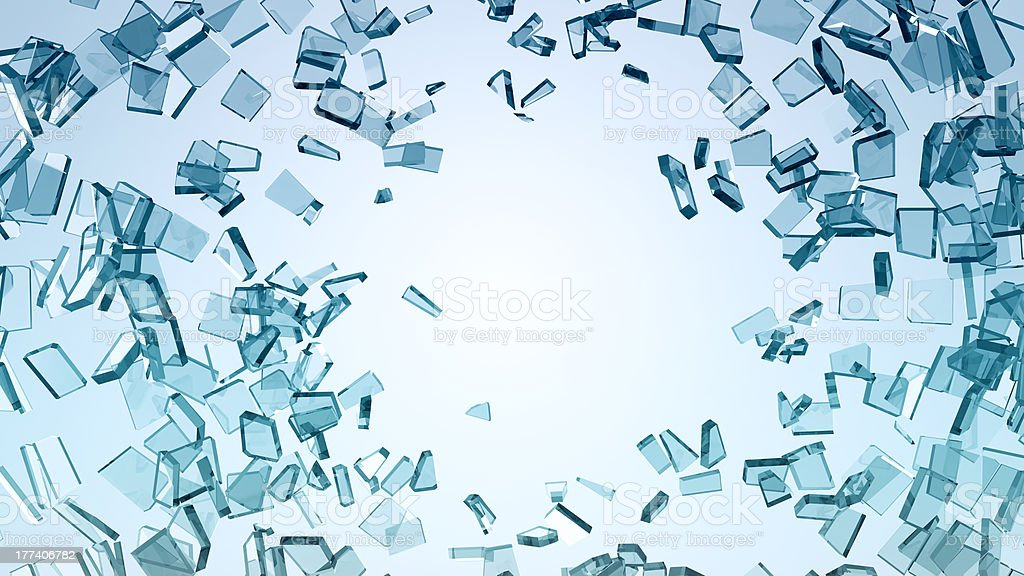 Damage and wreck: Pieces of broken glass stock photo