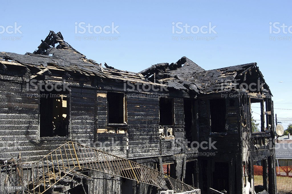 Damage At An Apartment Fire royalty-free stock photo