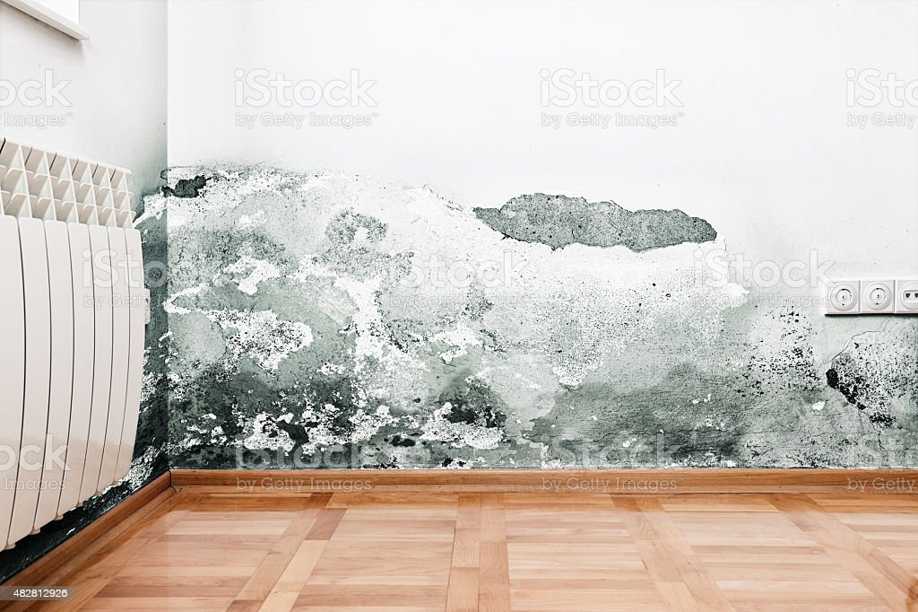 Damage caused by damp on a wall in modern house stock photo