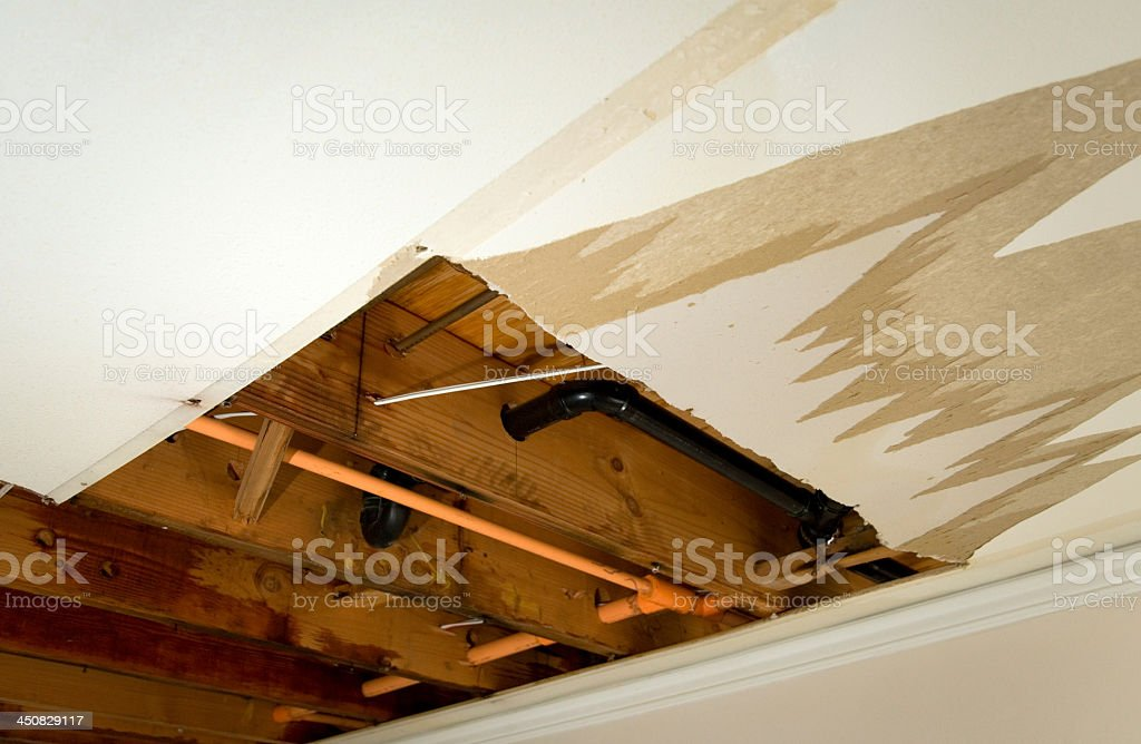 Damage caused by water leaking through the ceiling royalty-free stock photo