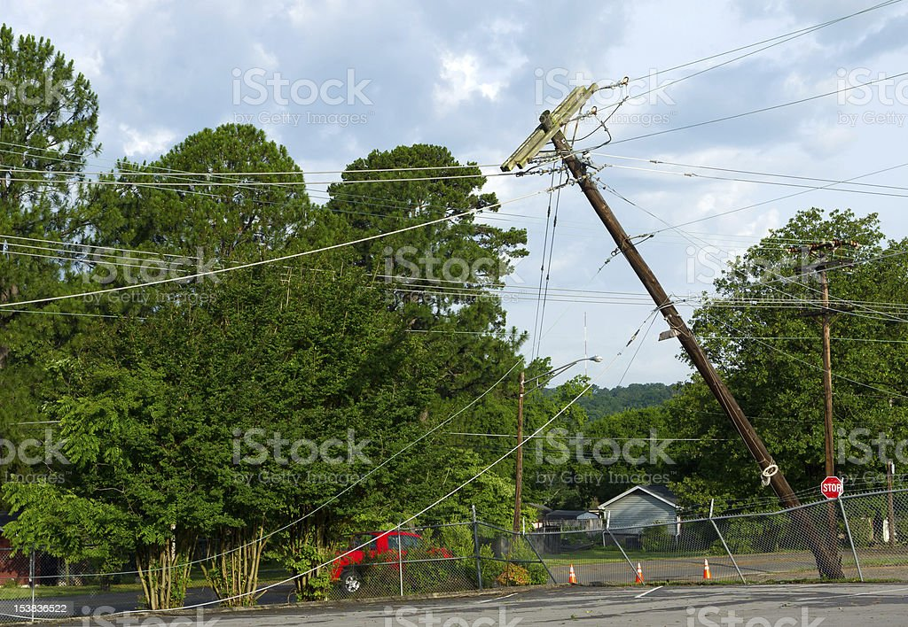 Damage in a neighborhood after storm stock photo