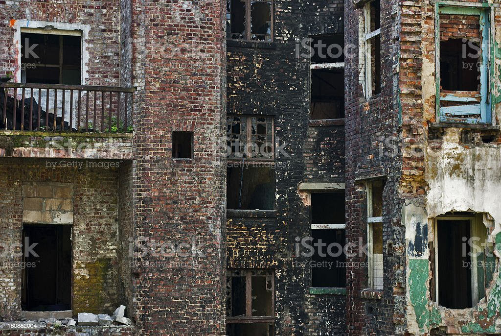 Damage in City of Industry, Ruined Brick Building royalty-free stock photo