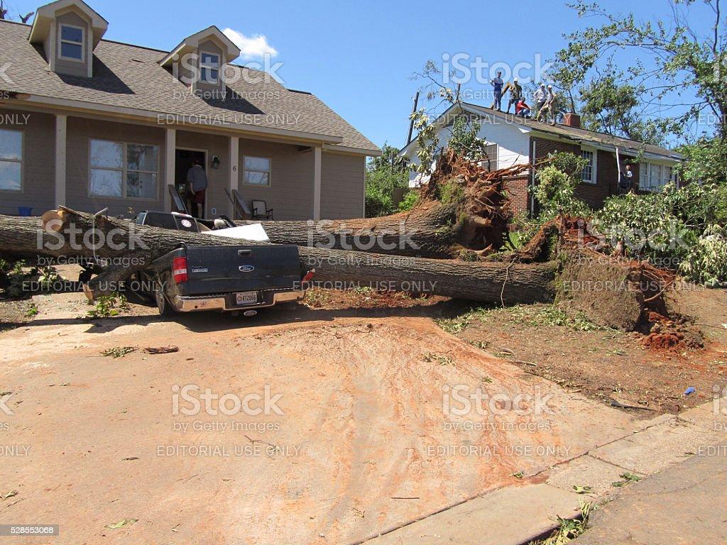 Damage of the devastating Tornado, Tuscaloosa on April 27. stock photo