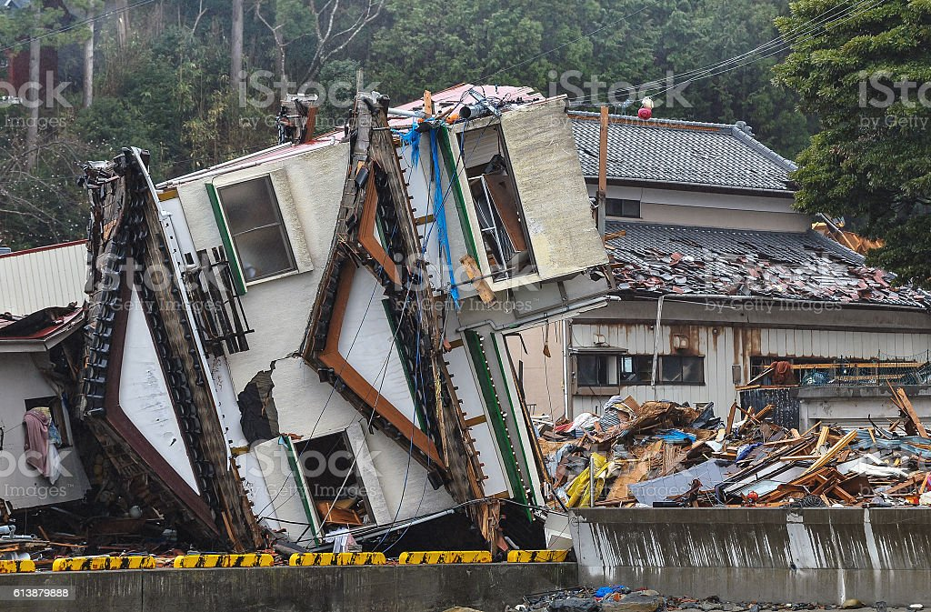 Damage scenery of the East Japan great earthquake disaster stock photo