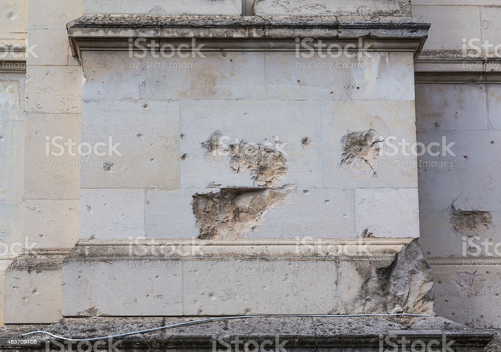 Damage to Brickwork stock photo