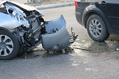 Damage to the front of the vehicle after a car accident