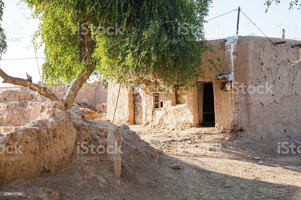 Damaged abandoned house. stock photo