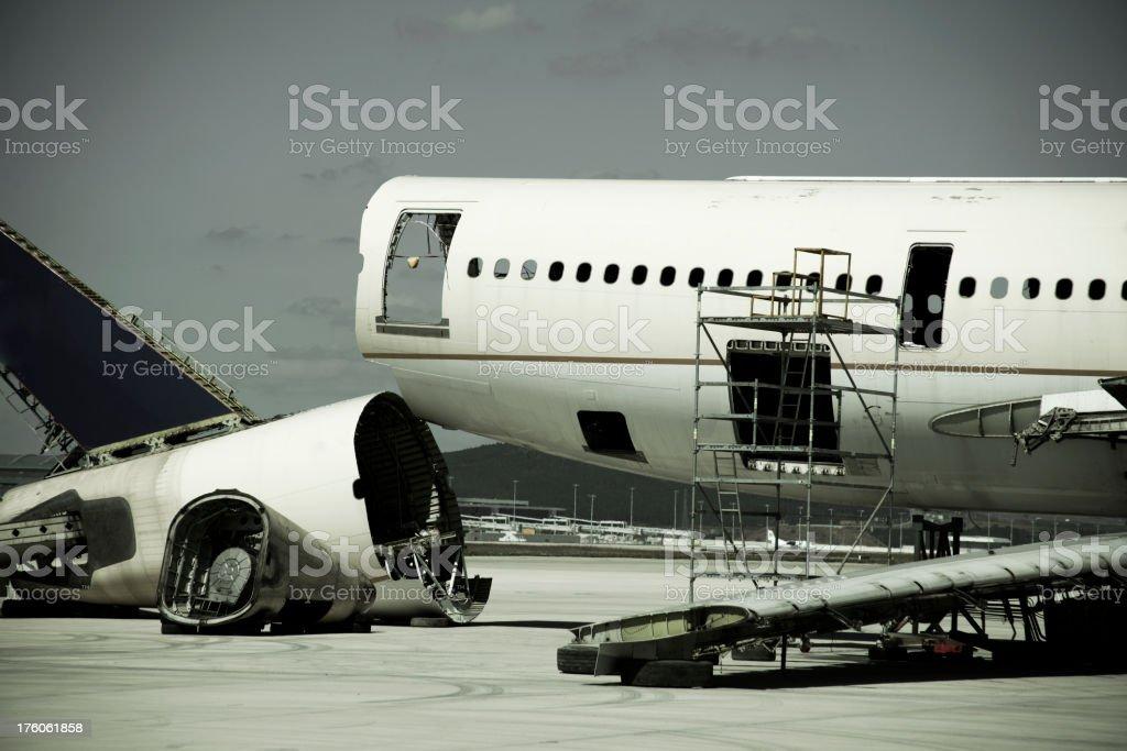 Damaged aircraft royalty-free stock photo