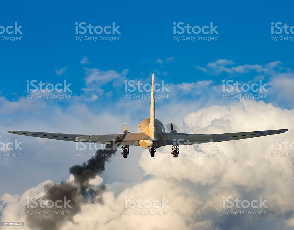 Damaged airplane stock photo